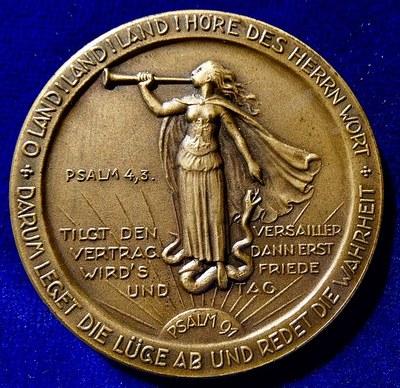 Medaille Hindenburg Stockholmer Konferenz 1925 Rückseite