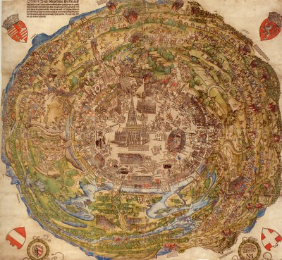Nikolaus Meldemann (1518–1552), Rundansicht der Stadt Wien zur Zeit der Ersten Türkenbelagerung Wiens, kolorierter Holzschnitt, 81,2 x 85,6 cm, 1530; Bildquelle: Historisches Museum Wien, Inv. Nr. 48.068, https://www.wien.gv.at/wiki/index.php/Datei:Meldemann.jpg, CC BY-NC-ND 4.0, https://creativecommons.org/licenses/by-nc-nd/4.0/deed.de.