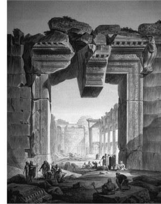 Louis François Cassas, Das Portal der Cella des Bacchustempels, Radierung, Aquarell, Gouache, o.D. (Louis-François Cassas 1756-1827, Köln/Mainz 1994, Abb. 90)