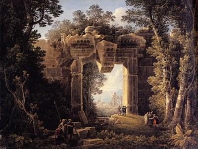 Louis François Cassas, Landschaft mit dem Portal der Cella des Bacchustempels in Baalbeck, Feder und schwarze Tinte, Aquarell,1793 (Louis-François Cassas 1756-1827, Köln/Mainz 1994, Abb. 89)