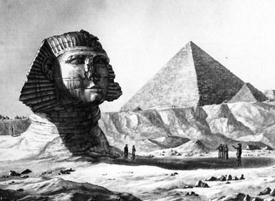 Pyramides de Memphis, Vue du Sphinx et de la grande pyramide, prise du sud-est, in: Description de l'Égypte, Antiquités, vol. V, Taf. 11 (Description de l'Égypte, Köln u.a. 2007, S. 472)
