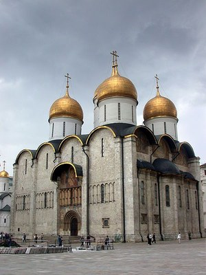 Aristotele Fioravanti (1415–1485), Uspenskij-Kathedrale in Moskau, Farbphotographie, 2004, Photograph: Smack; Bildquelle: Wikimedia Commons, http://commons.wikimedia.org/wiki/File:Dormition_%28Kremlin%29.JPG?uselang=de .