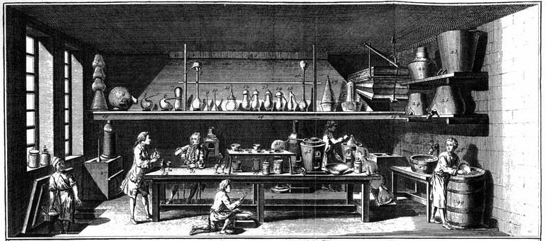 """Chemisches Labor, 1765, unbekannter Künstler; Bildquelle: Encyclopédie, ou Dictionnaire Raisonné des Sciences, des Arts et des Métiers, vol. 33, Planches, Neuchatel 1765, """"Chimie"""", Tafel I."""