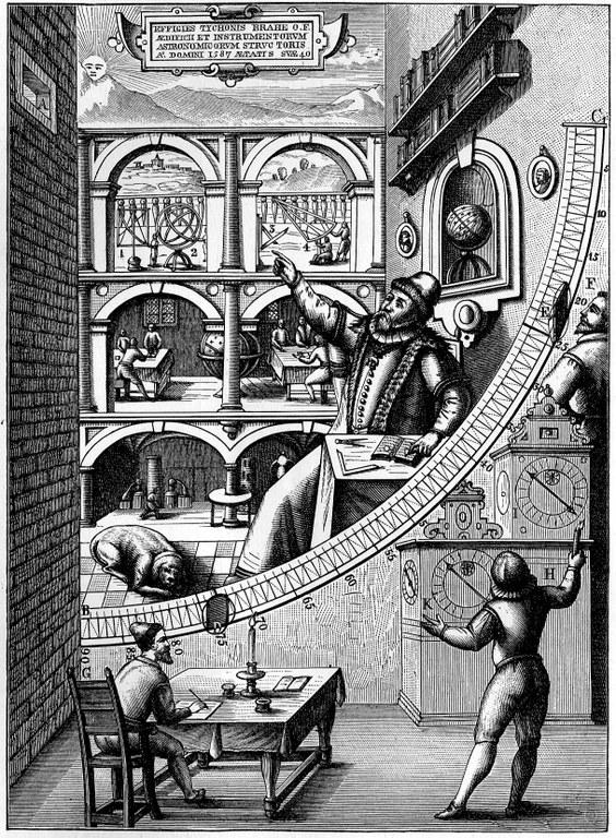 Der Mauerquadrant in Uraniborg, 1909, unbekannter Künstler; Bilquelle: Meyers Großes Konversationslexikon, 6. Aufl., Zweiter Band, Leipzig 1909, S. 111.