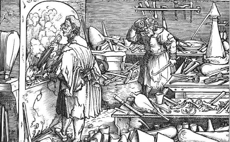 Hans Weiditz (ca. 1500–1536), Zwei Alchimisten im Labor, Holzschnitt, 1532; Bildquelle: Staatliche Kunstsammlungen Dresden, Kupferstich-Kabinett.