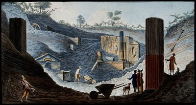 Ausgrabung des Isis-Tempels in Pompeji, Gouacheradierung, 21,5 x 39,2 cm, 1776, Künstler: Pietro Fabris, Bildquelle: Wellcome Collection, https://wellcomecollection.org/works/aysfvagv, Creative Commons Attribution (CC BY 4.0).