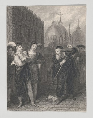 Salanio, Salerio und Shylock (Shakespeare, Merchant of Venice, 3. Akt, 1. Szene), Radierung und Gravierung, 8,8 × 6,5 cm, 1825–1840, Künstler: John Massey Wright (1777–1866), Bildquelle: Metropolitan Museum of Art, https://www.metmuseum.org/art/collection/search/739712?&searchField=All&sortBy=Relevance&ft=merchant+of+venice+shakespeare&offset=0&rpp=20&pos=3, lizensiert unter Creative Common Lizenz CC0 1.0 Universal (CC0 1.0). https://creativecommons.org/publicdomain/zero/1.0/