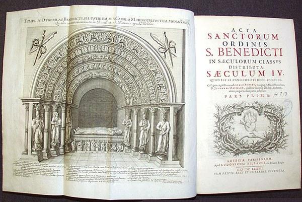 Titelblatt von Acta sanctorum Ordinis Sancti Benedicti.; Bildquelle: Luc d'Achery / Jean Mabillon: Acta sanctorum Ordinis s. Benedicti in saeculorum classes distributa. Vol. 4:. Folio. Paris 1677.