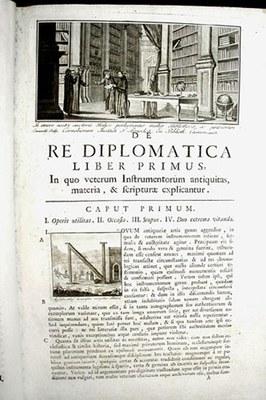 Titelblatt von De re diplomatica libri VI.; Bildquelle: Mabillon, Jean: De re diplomatica libri VI. vol. 1 of 2. Folio. 3. Edition, Neapel 1789.