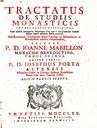 Titelblatt des Tractatus de studiis monasticis in tres partes distributus; Bildquelle: Mabillon, Jean: Tractatus de studiis monasticis in tres partes distributus,  Venedig 1770.