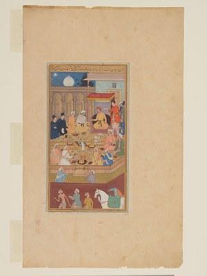 Akbar der Große hält religiöse Debatte in der Ibādat Khāna IMG