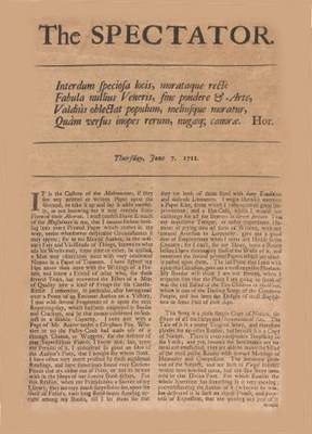 [Joseph Addison / Richard Steele]: The Spectator (1711–1714), Nr. vom 7. September 1711. Bildquelle: http://commons.wikimedia.org/wiki/File:Spectator.jpg.