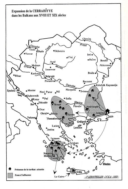 Expansion of the Jerrahiyye brotherhood in the Balkans in the 18th and 19th centuries, map, author: Pascal Lebouteiller; source: Clayer, Nathalie: Mystiques, Etat et Société: Les Halvetis dans l'aire balkanique de la fin du XVe siècle à nos jours, Leiden 1994.