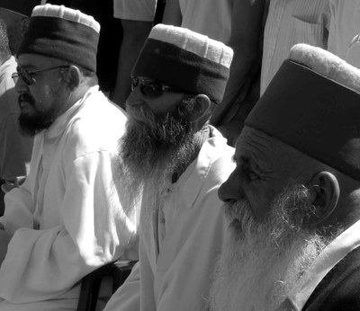 Three religious leaders of the Bektashiyye Brotherhood, black-and-white photograph, August 2006, photographer: Nathalie Clayer; source: in private ownership.