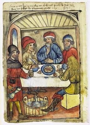 Anno M cccc lxx jor am erdag vor (con)fersio <pal> paully do starb jorg starcz ein gastgeb, der <C lxxxviiii> pruder <179>, lavierte und kolorierte Federzeichnung, 1470, unbekannter Künstler, in: Hausbuch der Mendelschen Zwölfbrüderstiftung, Band 1, Nürnberg 1426–1549; Bildquelle: Stadtbibliothek Nürnberg, Amb. 317.2°, online: http://www.nuernberger-hausbuecher.de/75-Amb-2-317-88-v/data.