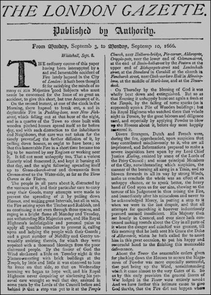 Henry Muddiman (1629–1692), The London Gazette, Nr. 85 vom Montag, dem 3. September 1666, Titelblatt; Bildquelle: The London Gazette Archive, online: http://www.london-gazette.co.uk/issues/85/pages/1.
