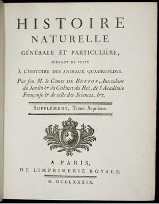 Georges Louis Leclerc Buffon, Histoire naturelle, 1789