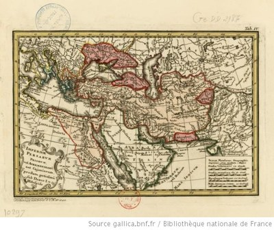 Johann Matthias Haas (1684–1742): Imperium Persarum priorum, vel Achaemenidaru, aut cajaniorum, prostatu potissimu [sic] sub Dario v. Histaspide, 1742; source: BnF Gallica, http://gallica.bnf.fr/ark:/12148/btv1b59636343.
