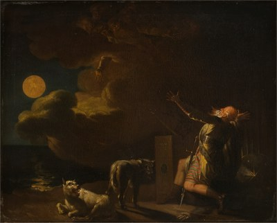 Nicolai Abildgaard (1743–1809): Fingal Sees the Ghosts of his Forefathers by Moonlight, ca. 1782, 60.4 x 72.2 x 5.1 cm, oil on canvas, source: Statens Museum for Kunst / National Gallery of Denmark, KMS3986, http://www.smk.dk/en/explore-the-art/search-smk/#/detail/KMS3986. Public Domain.