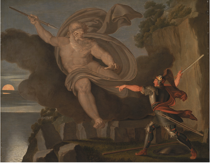 Asmus Jacob Carstens (1754–1798): Fingal's Battle with the Spirit of Loda, 1797, 91 x 109.9 x 7.2 cm, oil on canvas, source: Statens Museum for Kunst / National Gallery of Denmark, KMS607, http://www.smk.dk/en/explore-the-art/search-smk/#/detail/KMS607. Public Domain.