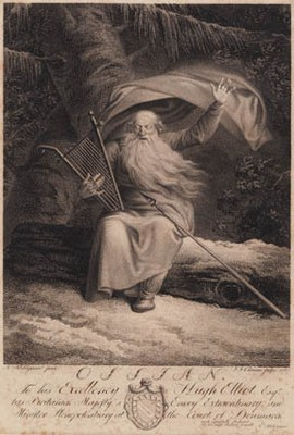 J.F. Clemens (1748–1831), after Nicolai Abildgaard (1743–1809): Ossian, 1787, 247 x 196 mm, etching and engraving, source: Statens Museum for Kunst / National Gallery of Denmark, KKSgb5959, http://www.smk.dk/en/explore-the-art/search-smk/#/detail/KKSgb5959. Public Domain.