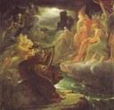 François Gérard (1770–1837): Ossian on the Bank of the Lora, Invoking the Gods to the Strains of a Harp (Ossian évoque les fantômes au son de la harpe sur les bords du Lora), ca. 18./19. century, 184.5 × 194.5 cm, oil on canvas. Source: Kunsthalle Hamburg / Wikimedia Commons, http://commons.wikimedia.org/wiki/File:Fran%C3%A7ois_G%C3%A9rard_-_Ossian.jpg.