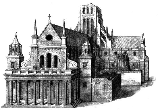 Wenceslaus Hollar (1607–1677), Old St. Paul's From the West, Kupferstich, 17. Jh.; Bildquelle: Benham, William: Old St. Paul's Cathedral, London u.a. 1902. Digitalisiert von: Project Gutenberg, http://www.gutenberg.org/files/16531/16531-8.txt, Bild: http://www.gutenberg.org/files/16531/16531-h/images/0147-spaulswest-550.png.