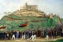 Chr. Heineld [?], Das Volksfest auf dem Hambacher Schloß bei Neustadt a/H. den 24 Mai 1832, Aquarell, 33, 3 cm x 49 cm, o. J. [um 1832]; Bildquelle: Mit freundlicher Genehmigung des Stadtmuseums Neustadt, Inv.-Nr. 197. http://www.stadtmuseum-neustadt.de/