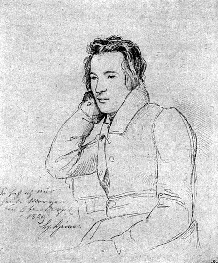 Franz Theodor Kugler (1808–1858), Portrait Heinrich Heine, Zeichnung, 1829; Bildquelle: Bibliothek des allgemeinen und praktischen Wissens. Bd. 5 (1905), Deutsche Literaturgeschichte, Seite 115; wikimedia commons, http://commons.wikimedia.org/wiki/File:Heinrich_Heine.jpg.