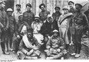 British and French soldiers in German captivity, black-and-white photograph, 1914, unknown photographer; source: Deutsches Bundesarchiv (German Federal Archive), Bild 146-2005-0171, Wikimedia Commons, http://commons.wikimedia.org/wiki/File:Bundesarchiv_Bild_146-2005-0171,_Kriegsgefangene_Engl%C3%A4nder_und_Franzosen.jpg.Creative Commons Attribution-Share Alike 3.0 Germany license.