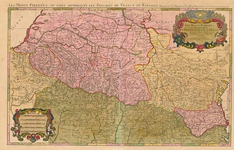 Nicolas Sanson (1600–1667), Les monts Pyrénées, où sont remarqués les passages de France en Espagne, Karte, zwischen 1692 und 1695; Bildquelle: Jaillot, Hubert: Atlas françois, compilation des cartes de Nicolas Sanson, Paris u.a. 1692–1695, Wikimedia Commons, http://commons.wikimedia.org/wiki/File:Carte_des_Pyr%C3%A9n%C3%A9es_au_XVIIeme_si%C3%A8cle.jpg?uselang=de, gemeinfrei
