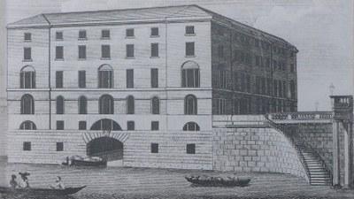 The Albion Mill, Blackfriars Bridge, Radierung, anonymer Künstler; Bildquelle: The New London Magazine vi (July 1790), S. 329.