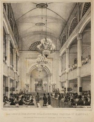 Das Innere des Neuen Israelitischen Tempels in Hamburg, ca. 1844