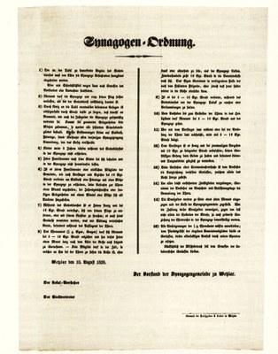 Synagogenordnung der Jüdischen Gemeinde zu Wetzlar von 1858