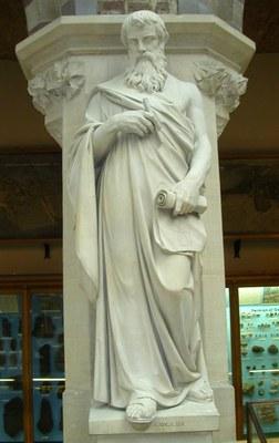 Statue von Euklid (ca. 360–ca. 280 v.Chr) im Oxford University Museum of Natural History, Marmorskulptur, 2005, unbekannter Bildhauer, photographiert von Mark A. Wilson; Bildquelle: Wikimedia Commons, online: http://commons.wikimedia.org/wiki/File:EuclidStatueOxford.jpg?uselang=de