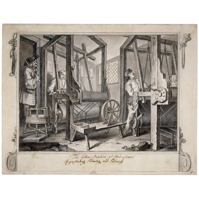 William Hogarth (1697–1764), The fellow 'prentices at their looms, Zeichnung, 1747; Bildquelle: British Museum, http://www.britishmuseum.org/explore/highlights/highlight_objects/pd/w/hogarth,_the_fellow_prentices.aspx.