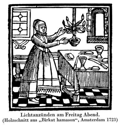 """Lichtanzünden am Freitag Abend. (Holzschnitt aus """"Birkat hamason"""", Amsterdam 1723), unbekannter Künstler; Bildquelle: Jüdisches Lexikon, Berlin 1930, vol. 4, Sp. 21."""
