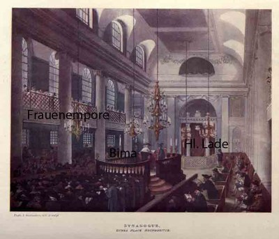 Thomas Rowlandson (1756–1827) und Augustus Charles Pugin (1762–1832), Synagogue, Dukes Place. Houndsditch; Bildquelle: Ackermann, Rudolph: The Microcosm of London or London in Miniature, London 1904, vol. 3, S, 166, http://archive.org/stream/microcosmoflondo03pyneuoft#page/200/mode/1up.