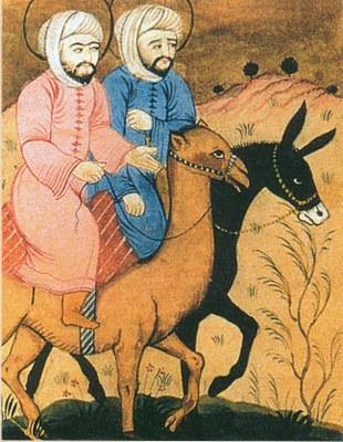 Mohammed und Issa (Jesus, auf dem Esel) reiten einträchtig nebeneinander, 18. Jahrhundert, unbekannter persischer Künstler; Bildquelle: © R. u. S. Michaud/akg-images.