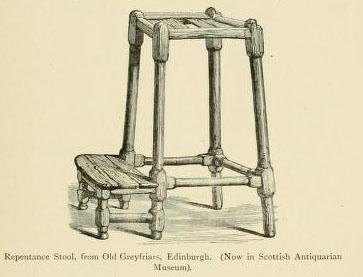 Repentance Stool, from Old Greyfriars, Edinburgh, unbekannter Künstler; Bildquelle: Andrews, William (Hg.): Antiquities and Curiosities of the Church, London 1897, S. 97.
