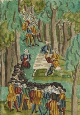 Täuferversammlung im Wald – umringt von Täuferjägern, unbekannter Künstler; Bildquelle: Zentralbibliothek Zürich, Ms F 23, fol. 394.