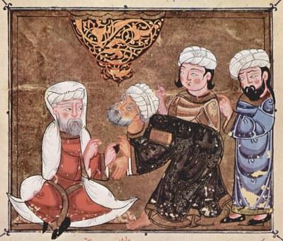 Vor dem Kadi, Buchmalerei, ca. 1334, unbekannter Künstler; Bildquelle: © Österreichische Nationalbibliothek, Cod. A.F. fol. 30v.