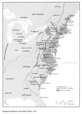 European Settlement and Indian Tribes, 1750. (Karte der Besiedelung der nordamerikanischen Ostküste. Europäische Siedlungen getrennt von indigenen Gebieten, 1750.) Quelle: Maryland State Archives, http://msa.maryland.gov/ecp/10/214/images/00200001.gif, gemeinfrei.