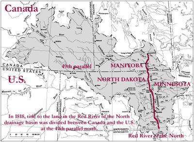 User:Jengod, Das Gebiet der Red-River-Kolonie in der Ausdehnung, in der die Hudson's Bay Company sie 1812 Lord Selkirk überließ, mit der Grenzziehung zwischen USA und Kanada von 1818. Quelle: Wikimedia Commons, https://commons.wikimedia.org/wiki/File:Red-river-basin.png, Creative Commons Attribution-Share Alike 3.0 Unported.