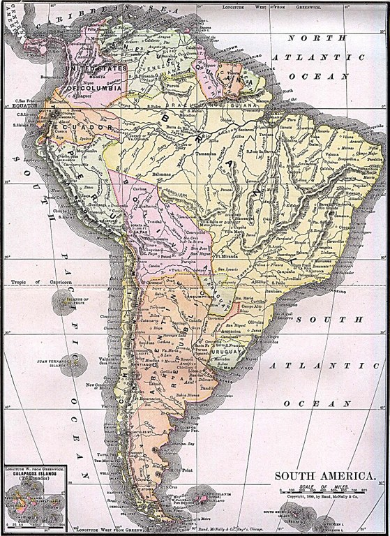 """""""South America"""" from """"Americanized Encyclopaedia Britannica"""", Vol. 1, Chicago 1892. Source: Perry-Castañeda Library Map Collection. Courtesy of the University of Texas Libraries, The University of Texas at Austin. http://www.lib.utexas.edu/maps/historical/south_america_1892.jpg, public domain."""