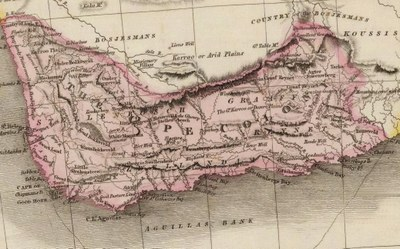 John Pinkerton (1758–1826), Map of Cape Colony in Southern Africa, 1809; source: David Rumsey Map Collection, http://www.davidrumsey.com/maps4704.html, via Wikimedia Commons https://commons.wikimedia.org/wiki/File:Cape_Colony00.jpg. Creative Commons License BY-NC-SA 2.0.