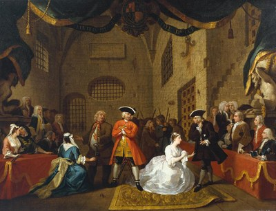 William Hogarth (1697–1764): The Beggar's Opera, Scene V, ca. 1728, 56 × 72,5 cm, oil on canvas, source: Tate Gallery, London, Reference N02437, http://www.tate.org.uk/art/artworks/hogarth-a-scene-from-the-beggars-opera-vi-n02437, Creative Commons CC-BY-NC-ND (3.0 Unported), https://creativecommons.org/licenses/by-nc-nd/3.0/deed.en_GB.