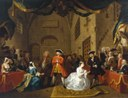 William Hogarth (1697–1764): The Beggar's Opera, Scene V, ca. 1728, 56 × 72,5 cm, oil on canvas, Tate Gallery, London, source: The Yorck Project: 10.000 Meisterwerke der Malerei. DVD-ROM, 2002. ISBN 3936122202. Distributed by DIRECTMEDIA Publishing GmbH. Via Wikimedia Commons, https://commons.wikimedia.org/wiki/File:William_Hogarth_016.jpg. Public Domain.