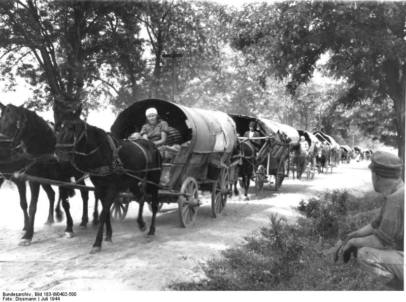 """""""Flüchtlingstreck in Richtung Deutschland"""", schwarz-weiß Photographie, Ungarn, 1944, Photograph: Dissmann; Bildquelle: Deutsches Bundesarchiv (German Federal Archive), Bild 183-W0402-500, wikimedia commons, http://commons.wikimedia.org/wiki/File:Bundesarchiv_Bild_183-W0402-500,_Fl%C3%BCchtlingstreck_in_Richtung_Deutschland.jpg."""