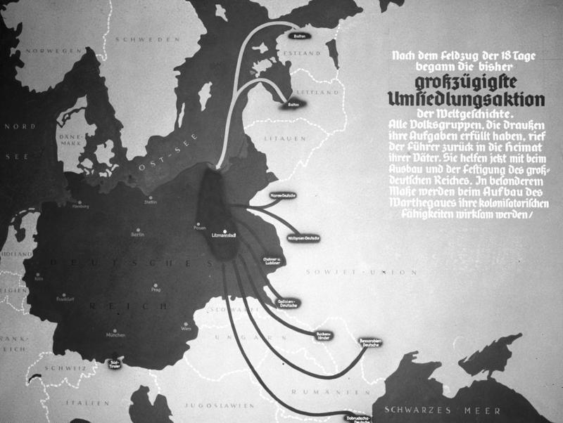 """""""Übersicht zur Herkunft deutschstämmiger Umsiedler im Wartheland"""", Karte, 1939, unbekannter Urheber; Bildquelle: Deutsches Bundesarchiv (German Federal Archive), R 49 Bild-0705, wikimedia commons, http://commons.wikimedia.org/wiki/File:Bundesarchiv_R_49_Bild-0705,_Polen,_Herkunft_der_Umsiedler,_Karte.jpg?uselang=de."""